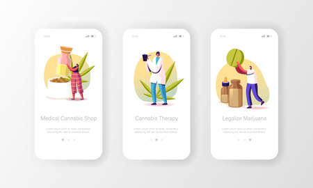 Marijuana Drugs for Personal Use Mobile App Page Onboard Screen Template. Tiny Pharmacist Produce Medical Cannabis Ilustrace