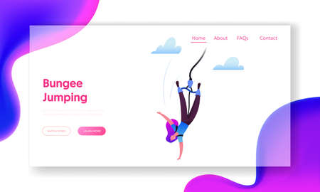 Bungee Jumping Landing Page Template. Brave Female Character Jump with Rope from Great Height. Extreme Activity, Fun