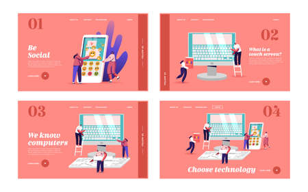 Typing, Education Technology Landing Page Template Set. Tiny Male and Female Characters at Huge Computer with Keyboard