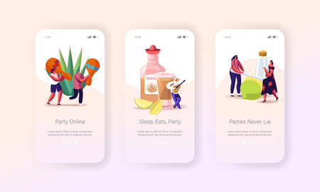 People Drinking Tequila on Party Mobile App Page Onboard Screen Template. Tiny Characters with Maracas, Salt and Lime