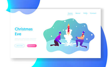 Firework Landing Page Template. Happy Couple Wear Winter Clothes Burning and Launch Petard or Fireworks for Christmas