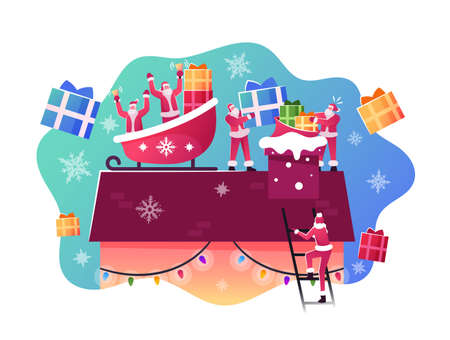 Happy Santa Claus Characters Sitting in Sled on House Roof Throw Gifts and Presents into Chimney. Christmas Celebration