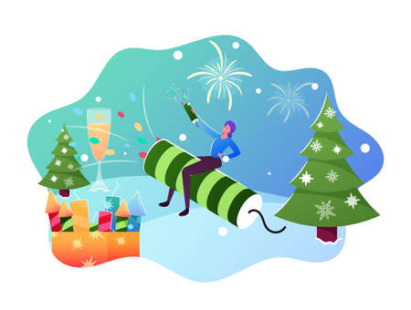 Female Sitting on Huge Petard on Winter Landscape with Fir Tree Launch Fireworks for Christmas or New Year Celebration Ilustrace