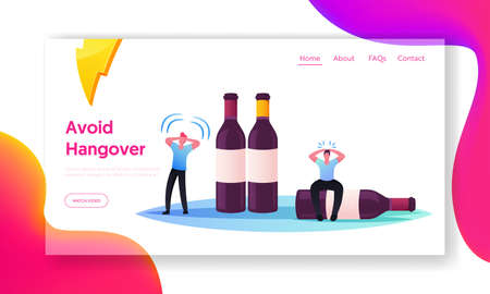 Drunk Men Hangover Syndrome due to Alcohol Addiction Landing Page Template. Tiny Male Characters Sit on Huge Bottles