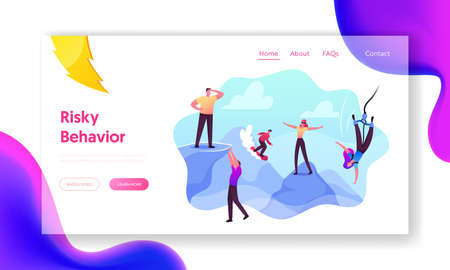 Risky Behavior, Extreme Recreation and Danger Activity Landing Page Template. Risk Takers Characters Bungee Jumping
