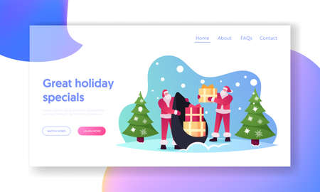 Merry Christmas and Happy New Year Holidays Landing Page Template. Santa Claus Characters in Red Costume Taking Gifts