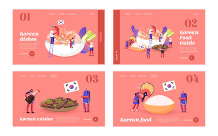 Characters Eating and Cooking Korean Cuisine Landing Page Template Set. People with Fan near Huge Dish with Rice