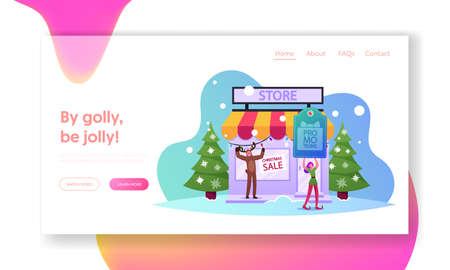 Christmas Characters Promotion Advertising, Price Off Landing Page Template. Elf and Reindeer Call Customers at Store