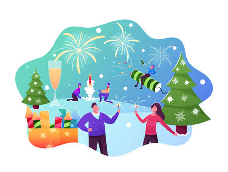Happy Family Characters Enjoying Firework Outdoor for Christmas or New Year Holiday Celebration, Young Men Launch Petard