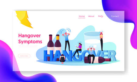 Hangover, Alcohol Addiction Landing Page Template. Characters Having Pernicious Habits Addiction and Substance Abuse Vettoriali