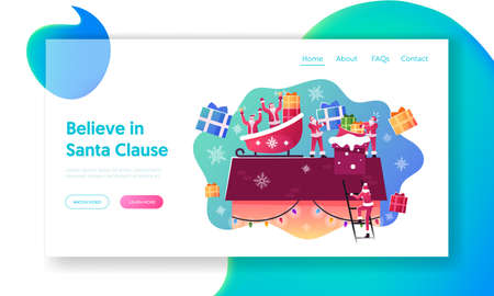 Xmas Festive Night, Merry Christmas Greeting Landing Page Template. Happy Santa Claus Sitting in Sled on House Roof Ilustrace