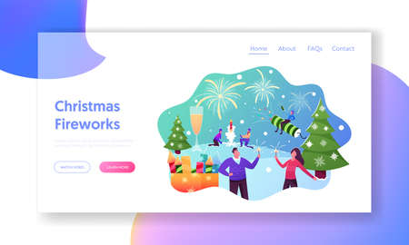Characters Enjoying Firework Landing Page Template. Outdoor Christmas or New Year Holiday Celebration, Men Launch Petard