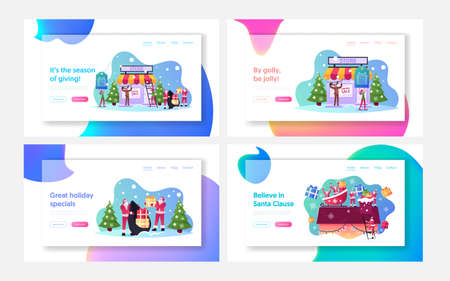 Christmas Promotion Landing Page Template Set. Santa Claus with Gifts, Elf Holding Sale Banner, Reindeer Xmas Promo Ilustrace