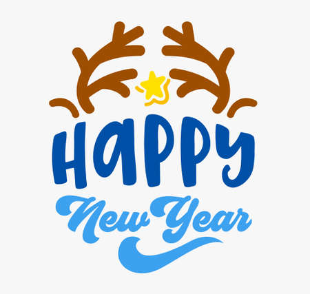 Happy New Year Greeting Card with Deer Horns and Gold Shining Star Isolated on White Background. Winter Holidays Wishes 矢量图像
