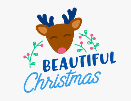 Winter Holiday Greeting Card with Cute Funny Deer, Holly Berry and Typography Beautiful Christmas Xmas Festive Wishes