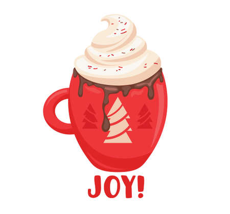 Winter Drink in Red Cup with Fir Trees Design. Hot Beverage with Whipped Cream, Cartoon Mug with Cocoa, Dripping Choco