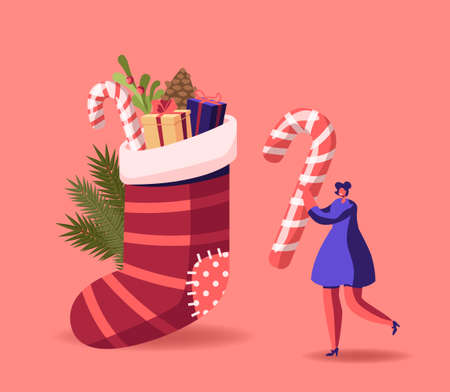 Tiny Female Character Prepare for Christmas, New Year Holiday Celebration. Woman Carry Huge Candy Cane near Festive Sock