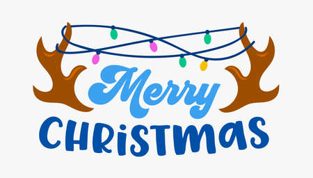 Merry Christmas Greeting Card with Deer Horns Wrapped with Lights Garland Isolated on White Background. Xmas Wishes 矢量图像