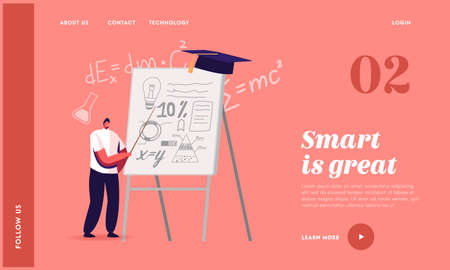 School Presentation Landing Page Template. Tiny Student Male Character Presenting Course Work or Diploma Project