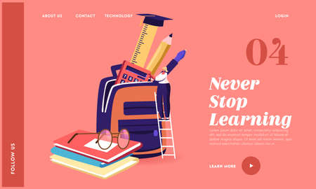 Studying, Learning, Education in College, University Landing Page Template. Tiny Female Character Put Educational Tools