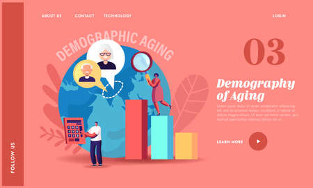 Demographic Aging Landing Page Template. Statistics Data for Human Age in World and Countries. Tiny Characters at Charts 向量圖像