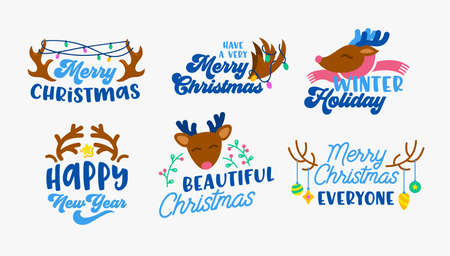 Set of Christmas Icons or Elements for Greeting Card with Deer Horns and Decoration Baubles and Garland. Xmas Holidays