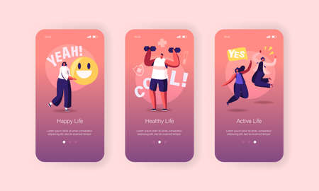 Happy Lifestyle Mobile App Page Onboard Screen Template. People Conduct Healthy, Active and Cool Life, Smile Emoji