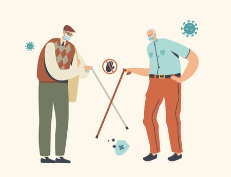 Aged Friends Alternative Non-contact Greet During Coronavirus Epidemic. Senior Male Characters Wearing Masks Greeting