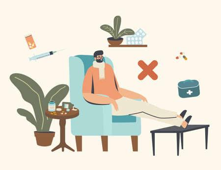Wrong Medicines Care Concept. Sick Male Character Having Flu Disease Wearing Warm Scarf Sitting at Home in Armchair