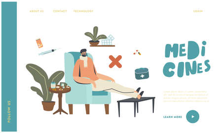 Wrong Medicines Care, Flu Disease Landing Page Template. Sick Male Character Wearing Warm Scarf Sit at Home in Armchair Ilustracja