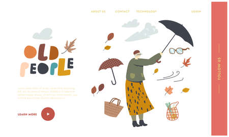 Aged Character Fighting with Strong Wind Landing Page Template. Senior Woman Holding Umbrella Protecting from Hurricane 向量圖像