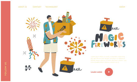 Man Carry Box with Pyrotechnics Landing Page Template. Happy Male Character Enjoying Fireworks Outdoor for Holiday Illustration