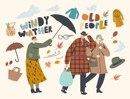 Seniors Fighting with Strong Wind, Aged Couple Man and Woman Walk in Windy Weather, Old Lady with Destroyed Umbrella