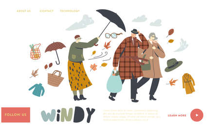 Seniors Fighting with Strong Wind Landing Page Template. Aged Couple Walk in Windy Weather, Lady with Destroyed Umbrella 向量圖像