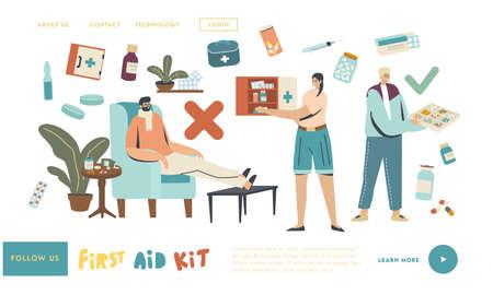 Drugs Storage, Seasonal Illness, Flu Sickness Landing Page Template. Sick Young Man Having Cold. Ill Male with Medicine Illustration