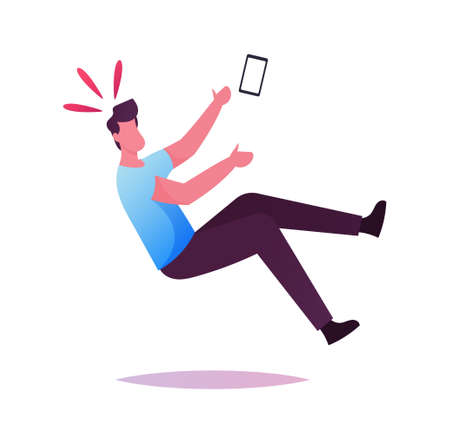 Clumsiness Concept. Male Character with Smartphone in Hand Slipping and Falling on Wet Floor Puddle, Dangerous Trauma Banque d'images - 157181637