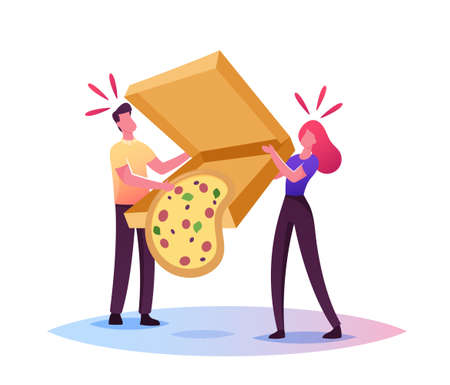 Clumsiness, Sods Law Concept. Tiny Male Female Characters Drop Huge Takeaway Box with Delivered Pizza Fall Down on Floor Banque d'images - 157181644