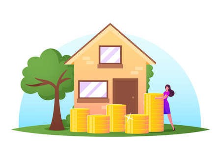 Woman Stand near Golden Coins Pile front of Cottage. Female Character Saving Money, Open Deposit for Buying Real Estate