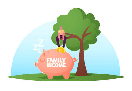 Male Character Sit on Tree Put Huge Coin into Piggy Bank. Man Collect Money, Cash, Financial Profit. Basic Family Income