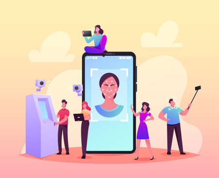 Face Detection, Facial Recognition Technology Concept. Tiny Characters Scanning Face Id on Smartphone, Identification Banque d'images - 157181663