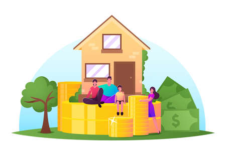 Family Income, Property Insurance, Mortgage Concept. Happy Family Characters front of Cottage with Piles of Huge Coins Banque d'images - 157181665