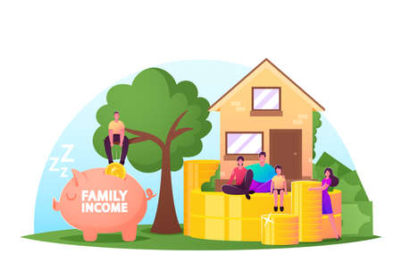 Family Income Concept. Tiny Characters around of Huge House with Piles of Coins and Piggy Bank. People Save Money