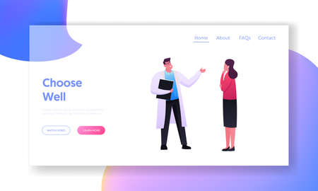 Medical Consultation Landing Page Template. Female Character Visiting Doctor Appointment for Professional Medic Advice