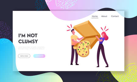 Clumsiness Landing Page Template. Tiny Male and Female Characters Drop Huge Takeaway Box with Delivered Pizza Fall Down Illustration
