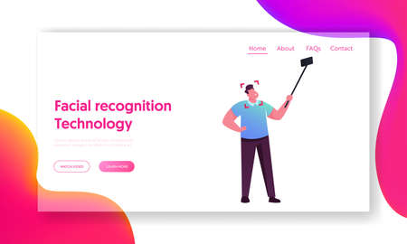Face Detection, Mobile Phone Security Landing Page Template. Male Character Scanning Face on Smartphone, Id Scanning