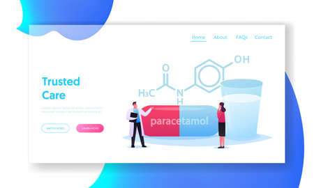 Pills Producing Landing Page Template. Tiny Doctor and Patient Character Stand at Huge Formula of Paracetamol Medicament