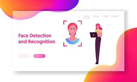 Facial Recognition Landing Page Template. Female Character Scanning Face on Laptop for Id Verification and Biometric Data Scanning