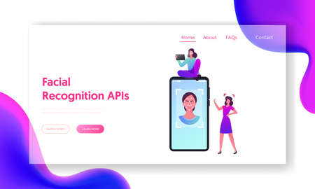 Facial Id Verification, Scan Landing Page Template. Tiny Female Characters at Huge Smartphone with Woman Face Detection Banque d'images - 157181783