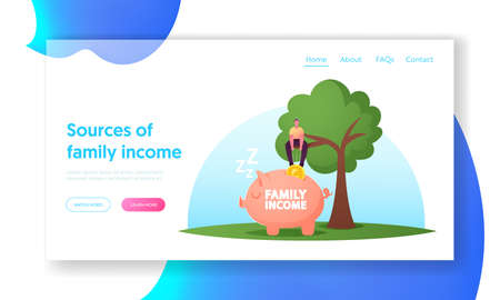 Universal Basic Family Income, Salary and Wealth Landing Page Template. Man Sit on Tree Put Huge Coin into Piggy Bank Illustration