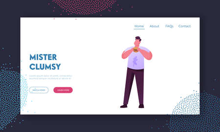 Clumsiness, Awkwardness Landing Page Template. Sloppy Male Character Put Food Stain on Clothes while Eating. Clumsy Man